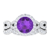 3 CT Amethyst Solitaire and Moissanite Engagement Ring Set