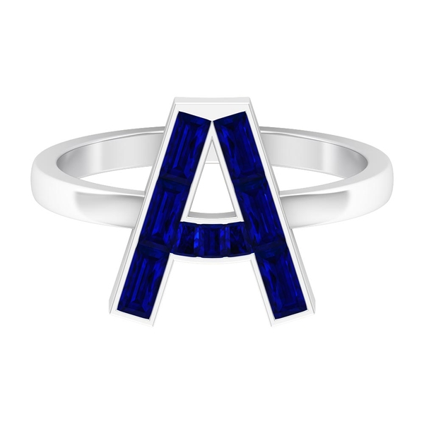 1.5 CT September Birthstone Blue Sapphire Initial A Promise Ring