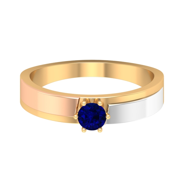 1/2 CT September Birthstone Blue Sapphire Two Tone Gold Anniversary Band Ring