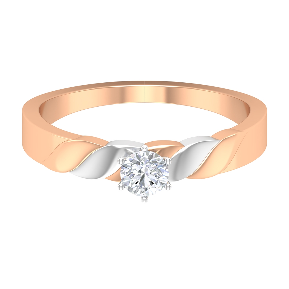 1/4 CT Two Tone Gold Braided Wedding Ring with Diamond