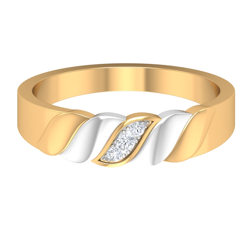 Two Tone Gold Braided Wedding Band with Diamond