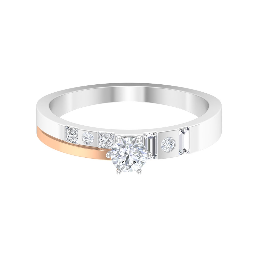 1/2 CT Diamond Two Tone Gold Solitaire Anniversary Ring