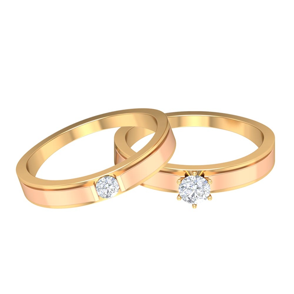 1/2 CT Diamond Solitaire Two Tone Gold Wedding Band Ring Set for Couples