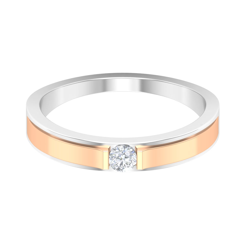 Two Tone Gold Solitaire Diamond Unisex Band Ring