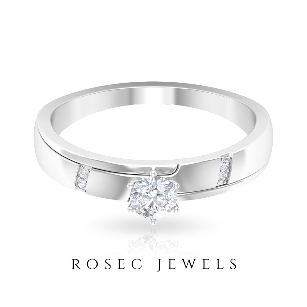 1/4 CT Two Tone Gold Engagement Band with Solitaire Diamond