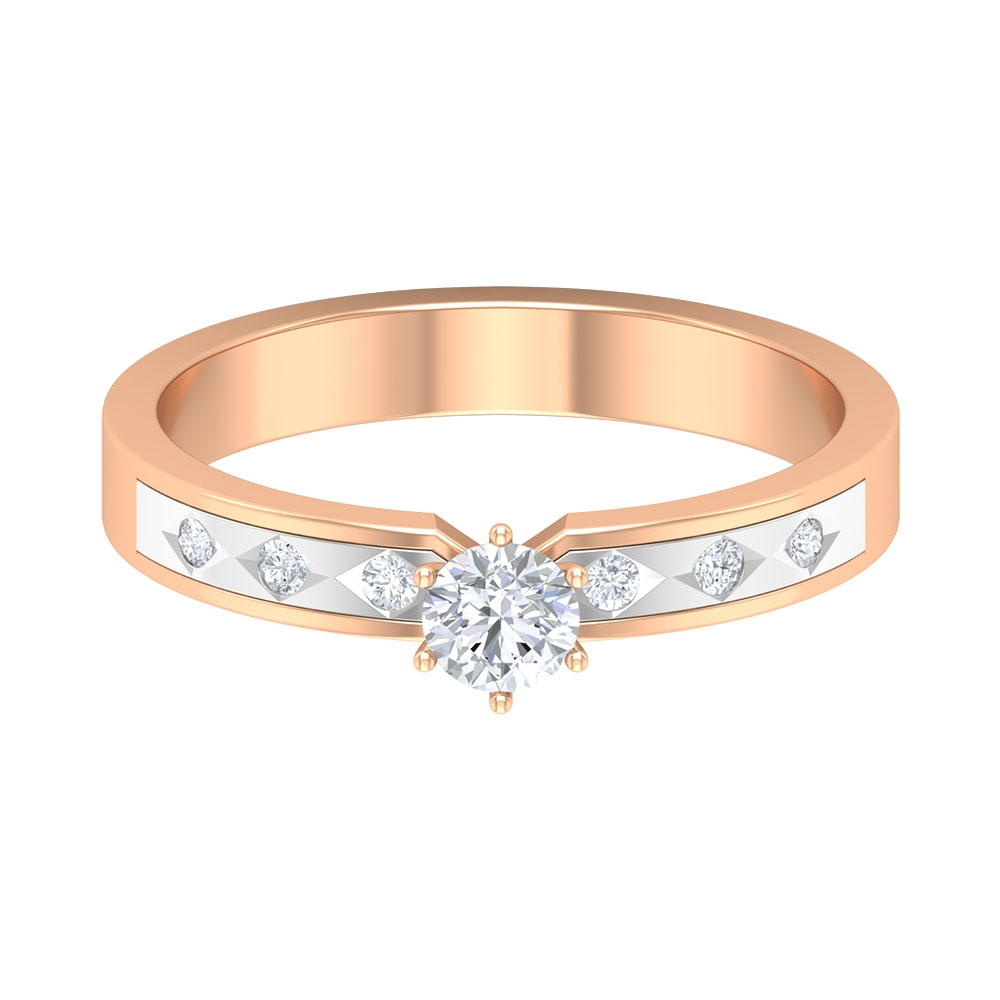 1/4 CT Diamond Solitaire Two Tone Gold Wedding Band Ring
