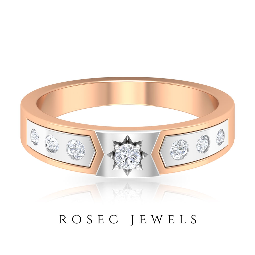 1/4 CT Diamond Two Tone Gold Promise Ring for Her