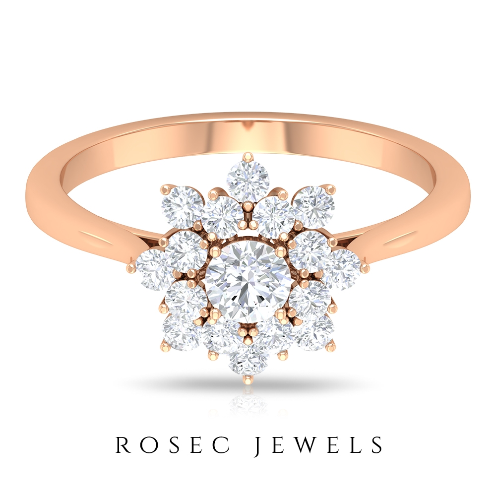 3/4 CT Diamond Floral Cluster Ring for Women