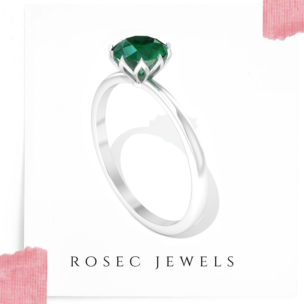 3/4 CT Round Emerald Solitaire Ring in Lotus Basket Setting