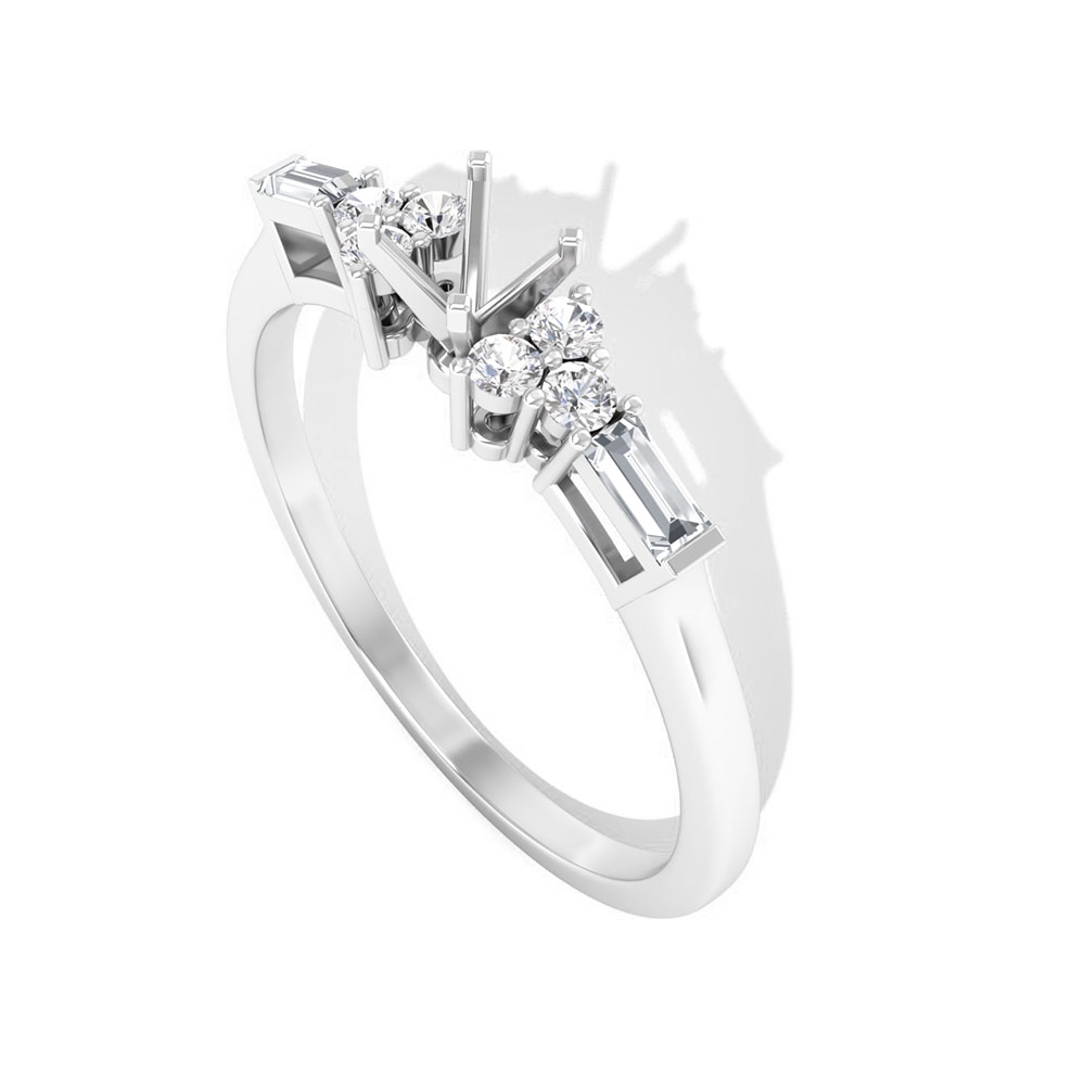 1/4 CT Solitaire Diamond Accent Ring Setting