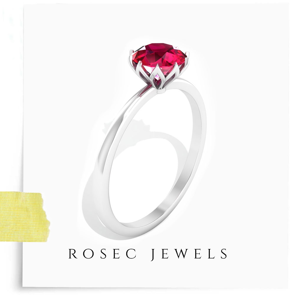1 CT Round Ruby Solitaire Ring