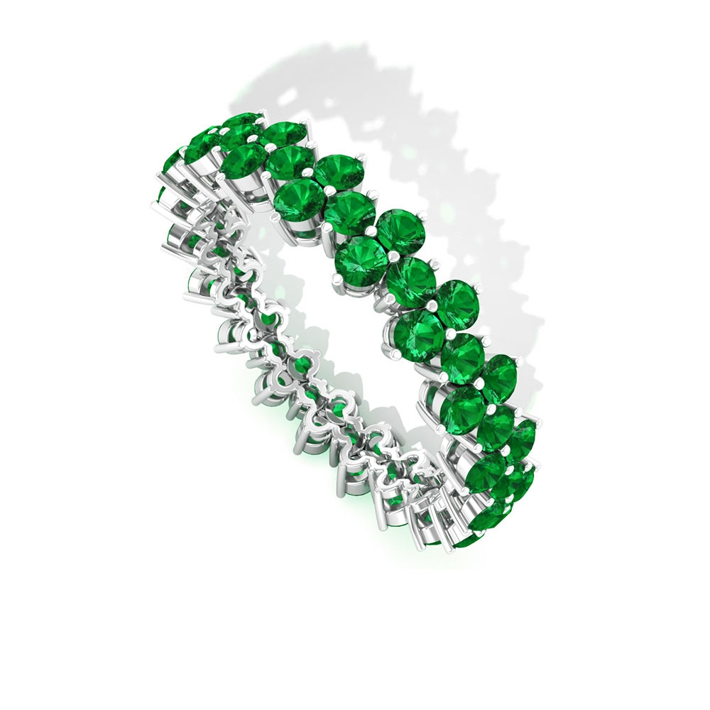 2.25 CT Emerald Cluster Wedding Ring