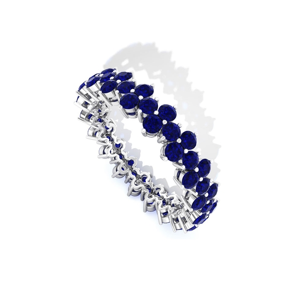 2.75 CT Blue Sapphire Cluster Wedding Ring