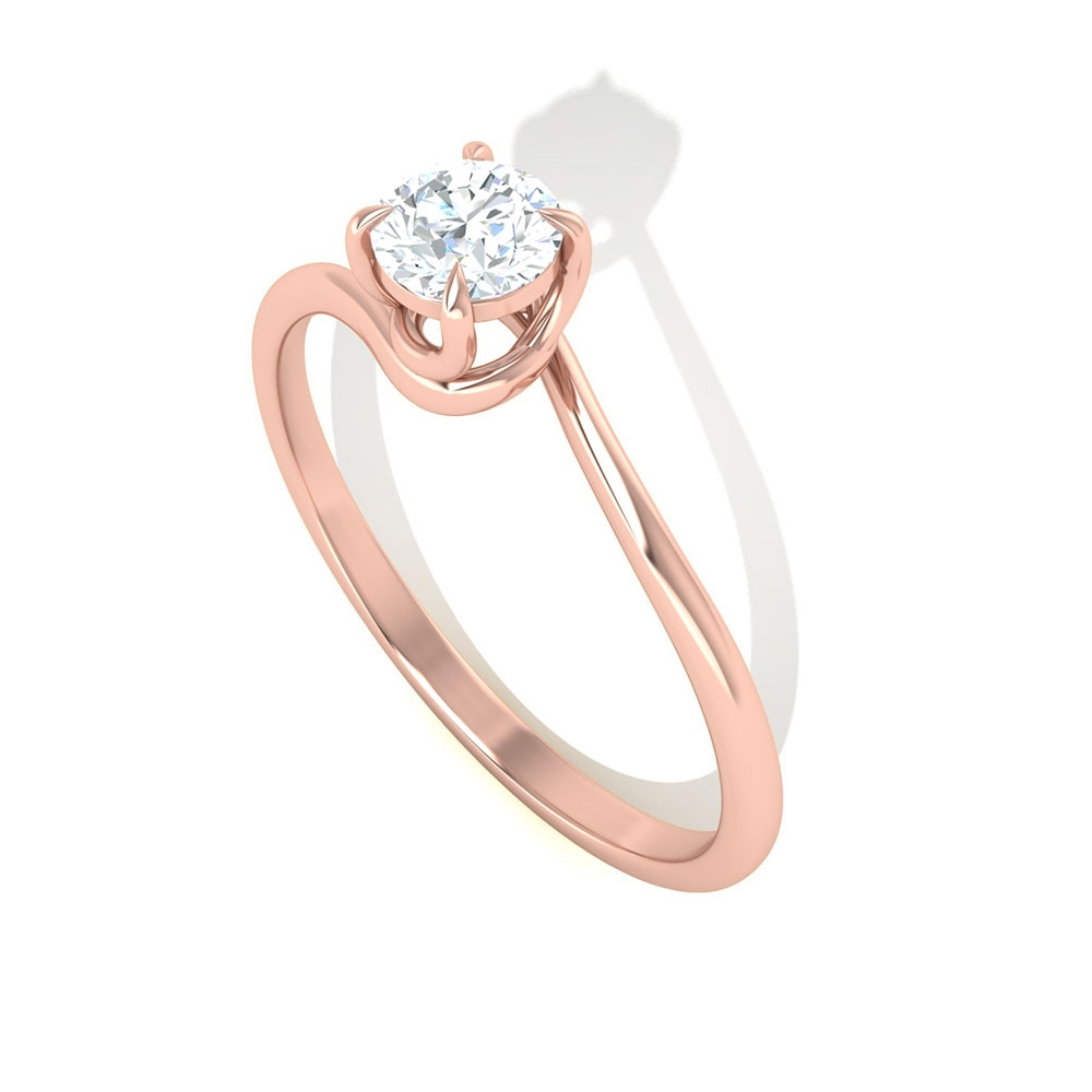 1/4 CT Diamond Solitaire Spiral Shank Ring