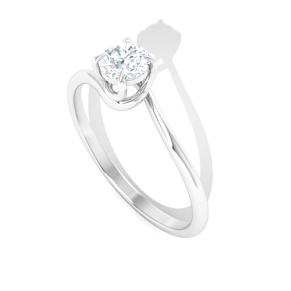 3/4 CT Solitaire Diamond Ring for Women in Claw Setting with Bypass Shank