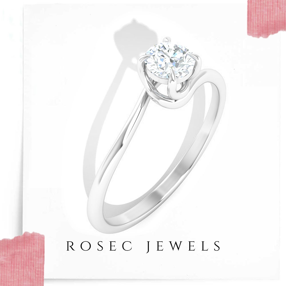 1/2 CT Solitaire Diamond Spiral Ring