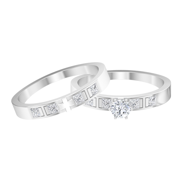 3/4 CT Diamond Engagement Ring Set for Couples