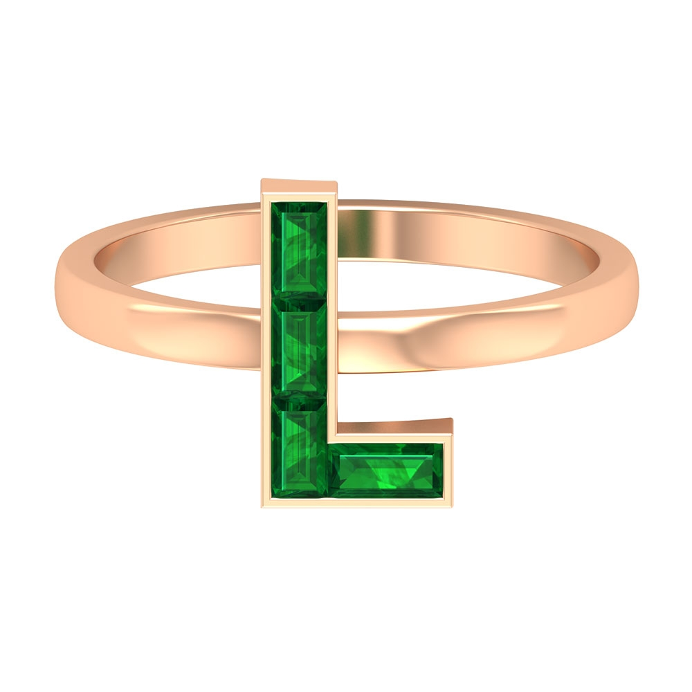 3/4 CT May Birthstone Emerald L Initial Promise Ring
