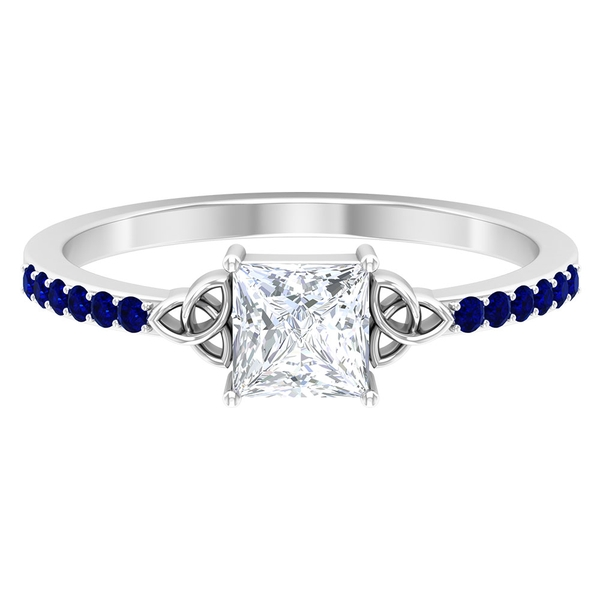 3/4 CT Princess Cut Diamond Solitaire Celtic Knot Ring with Blue Sapphire Side Stones