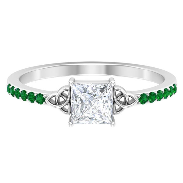 3/4 CT Princess Cut Diamond Celtic Knot Ring with Emerald Side Stones