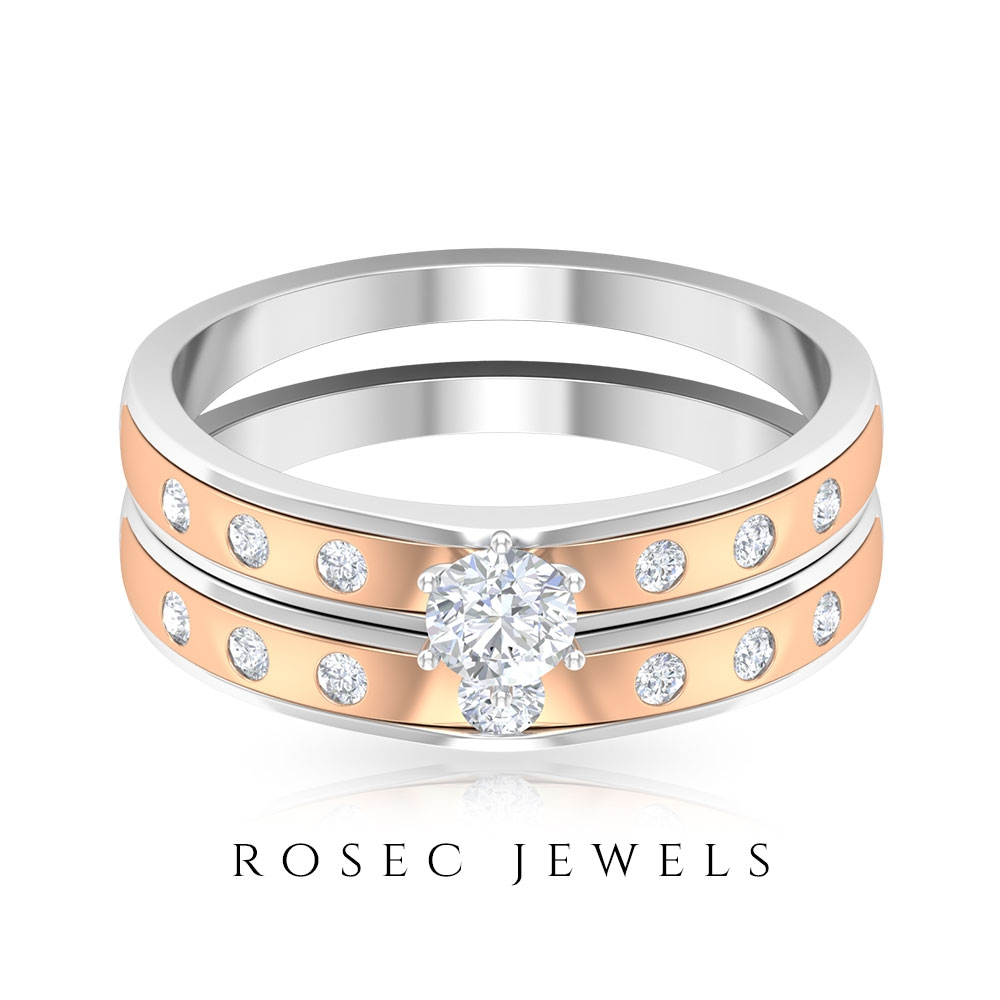 1/2 CT Diamond Two Tone Gold Anniversary Ring Set for Couples