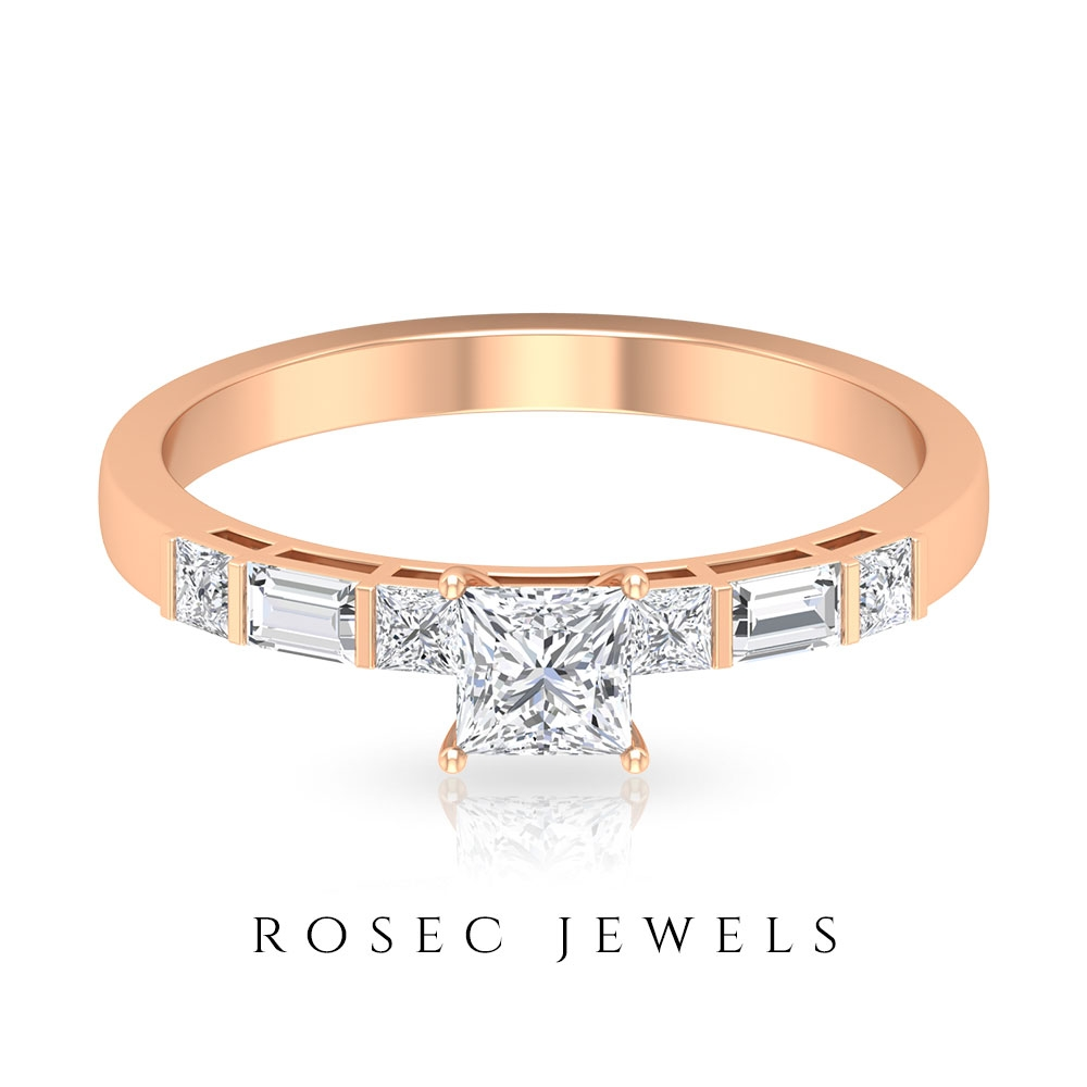 1.75 CT Princess Cut Diamond Solitaire Engagement Ring with Baguette Diamond Side Stones (HI-SI Quality)