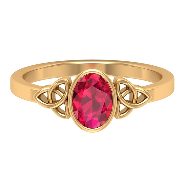 5X7 MM Created Ruby Celtic Knot Ring for Women