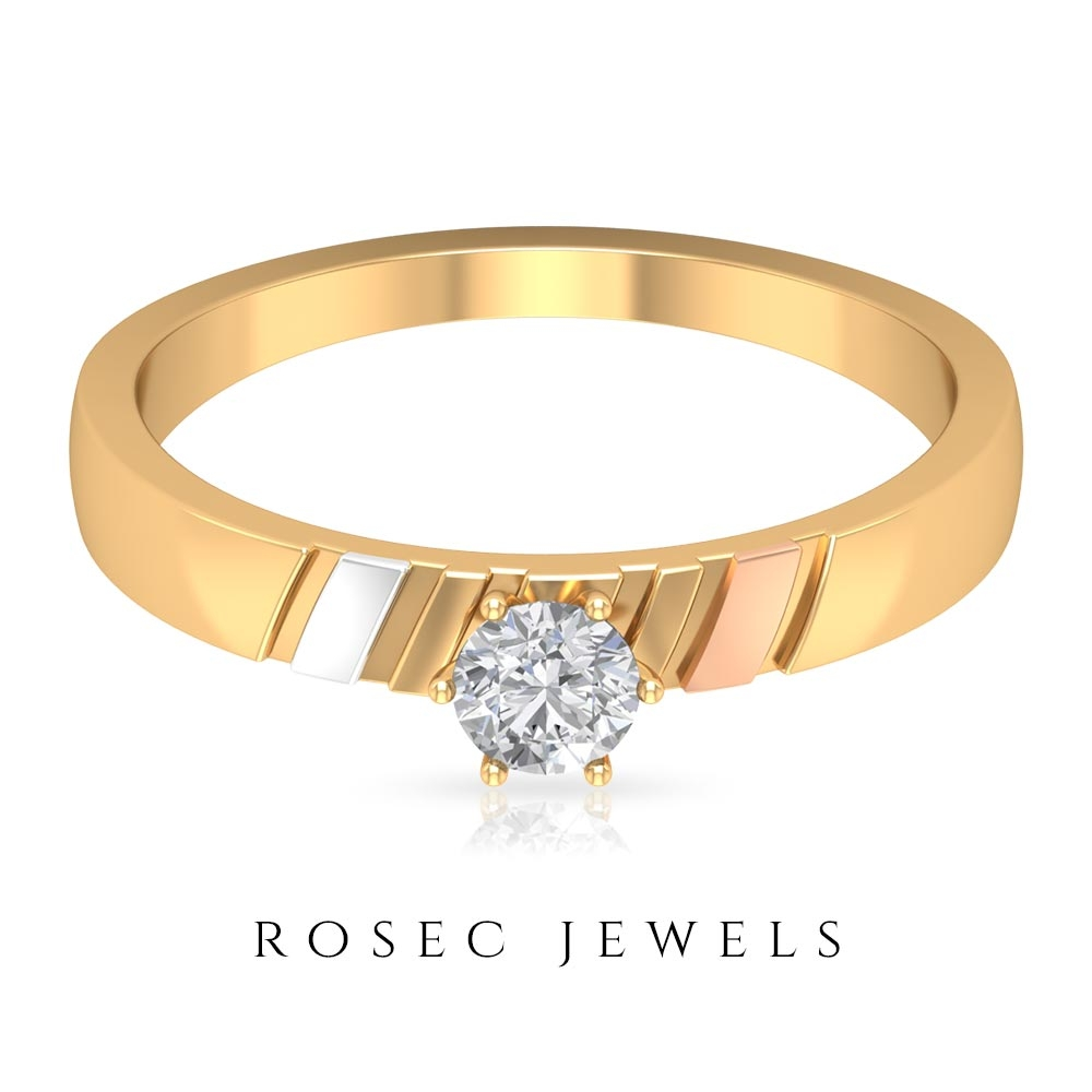 1/4 CT Two Tone Gold Diamond Solitaire Anniversary Band Ring
