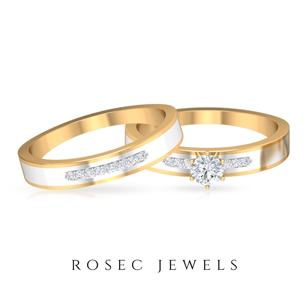 1/4 CT Diamond Two Tone Gold Anniversary Ring Set for Couples