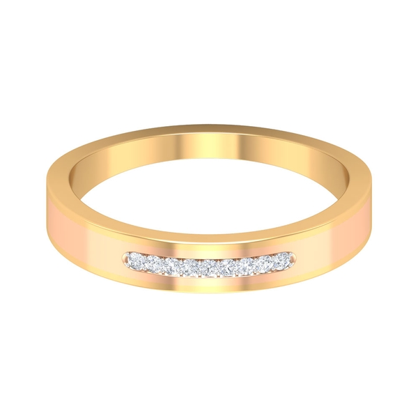 Simple Two Tone Gold Anniversary Band Ring with Diamonds