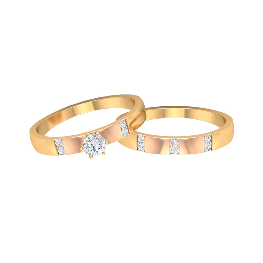 1/4 CT Diamond Two Tone Gold Wedding Band Ring Set for Couples