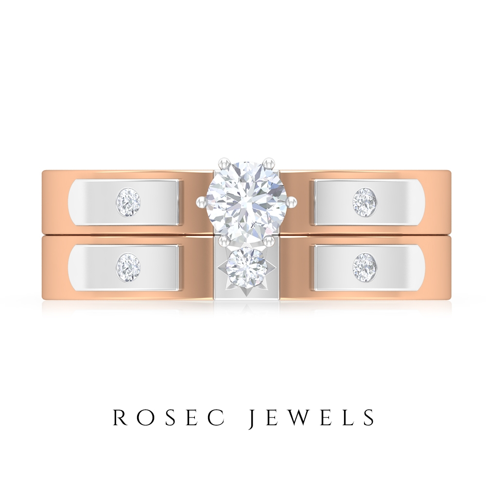 1/4 CT Diamond Two Tone Anniversary Ring Set for Couples