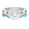 3.25 CT Wedding Ring Set with Moissanite Crossover Ring and Aquamarine Eternity Band