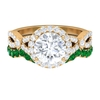 3.25 CT Solitaire Moissanite and Emerald Vintage Engagement Ring Set