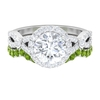 3.25 CT Solitaire Moissanite and Peridot Engagement Ring Set