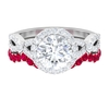 3.25 CT Moissanite Crossover Engagement Ring with Ruby Half Eternity Wedding Band Ring Set