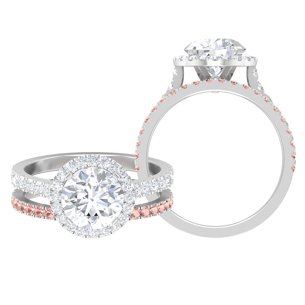 3 CT Moissanite Halo Engagement Ring with Created Morganite Half Eternity Wedding Band Ring Set