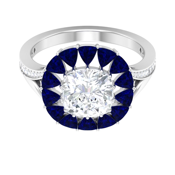 7.75 CT Moissanite and Lab Created Blue Sapphire Halo Engagement Ring