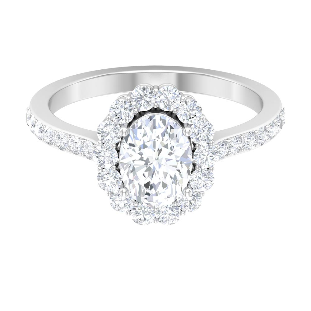 6X8 MM Oval Cut Moissanite Halo Engagement Ring