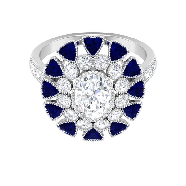 7 CT Moissanite Vintage Engagement Ring with Trillion Cut Created Blue Sapphire Halo
