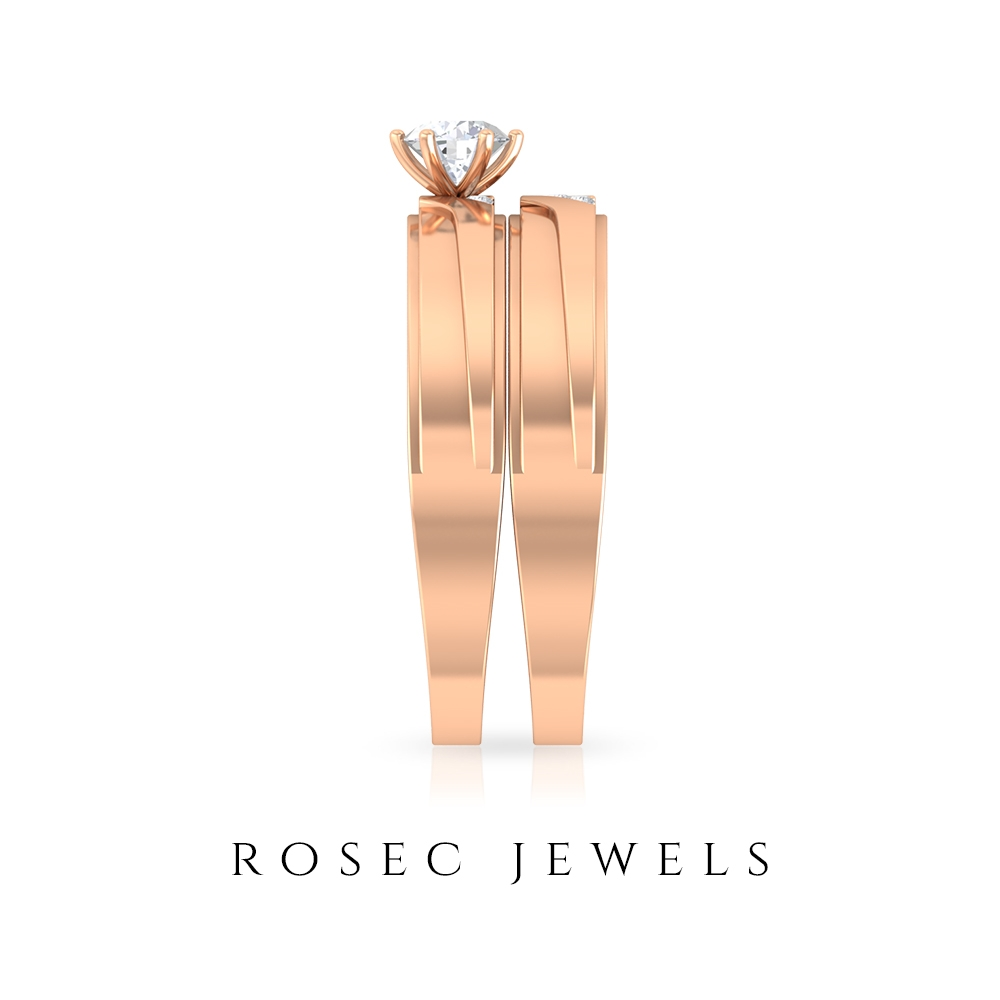 1/4 CT Solitaire Diamond and Gold Couple Ring Set