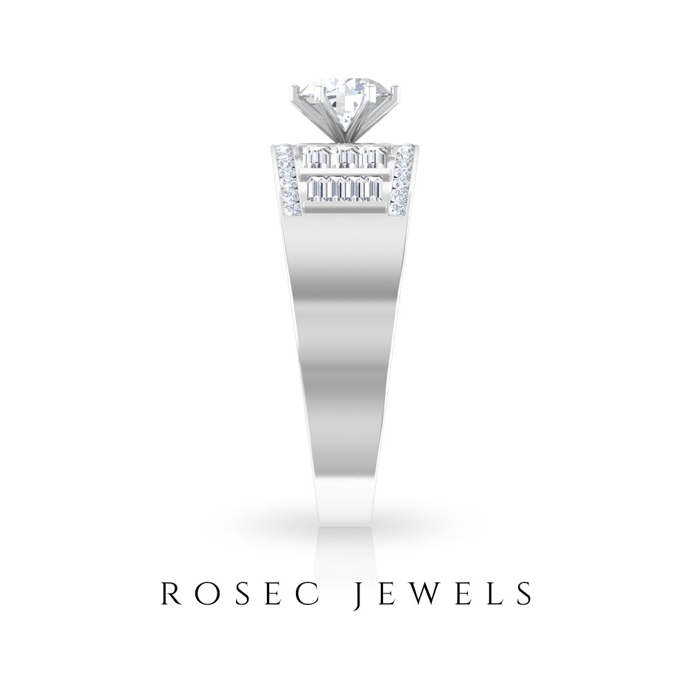 1.25 CT Diamond Solitaire Wide Band Ring for Women