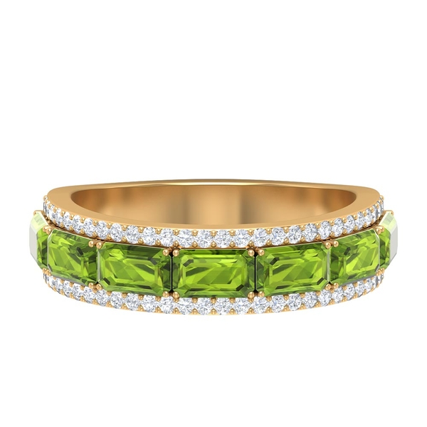 2.75 CT Created Peridot and Diamond Stackable Anniversary Band Ring
