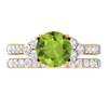 3.25 CT Created Peridot Solitaire Engagement Rings with Moissanite Wedding Band Ring Set