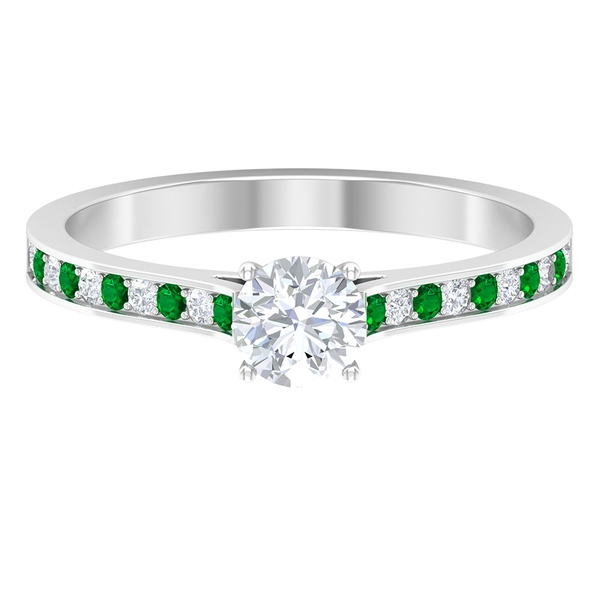 3/4 CT Diamond Solitaire Engagement Ring with Created Emerald Side Stones