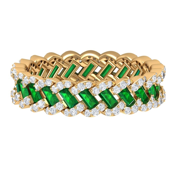 2.25 CT Baguette Cut Lab Created Emerald and Diamond Eternity Wedding Band