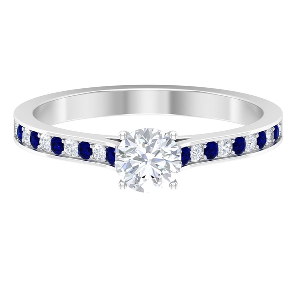 3/4 CT Solitaire Diamond and Created Blue Sapphire Engagement Ring