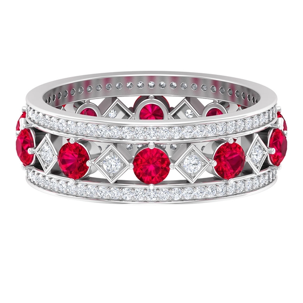 2.25 CT Created Ruby and Diamond Vintage Wedding Band Ring