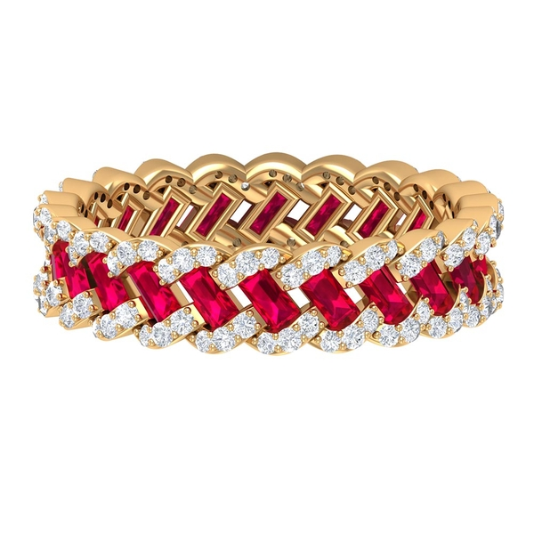 2.25 CT Created Ruby and Diamond Braided Eternity Wedding Band Ring