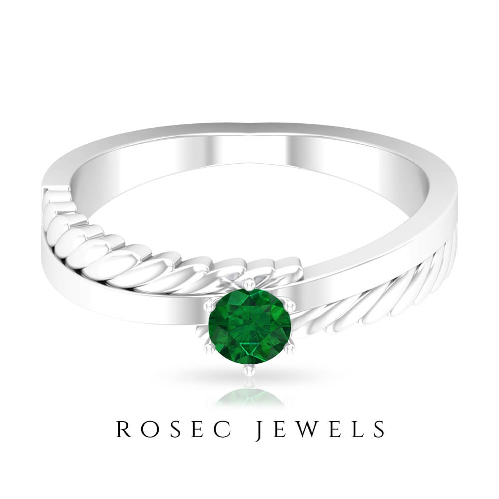 1/4 CT May Birthstone Emerald Gold Twisted Solitaire Anniversary Ring